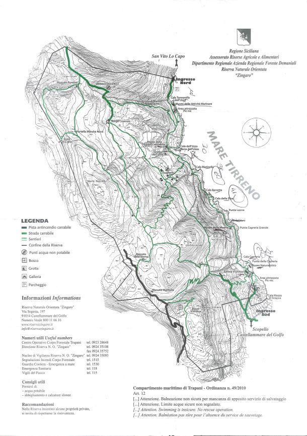 Rezerwat Zingaro mapa