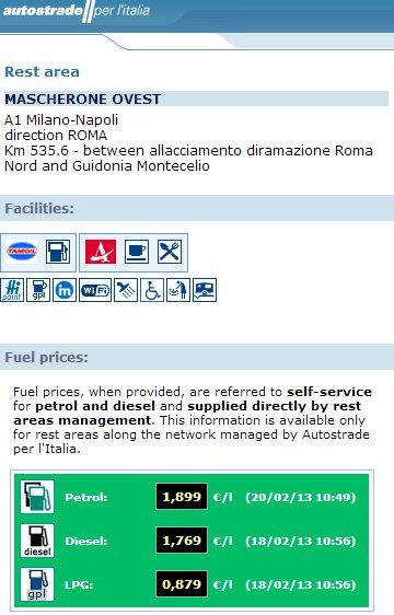 stacja benzynowa wybrana www.autostrade.it