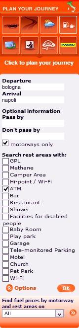 rodzaje udogodnien dostepnych na stronie www.autostrade.it
