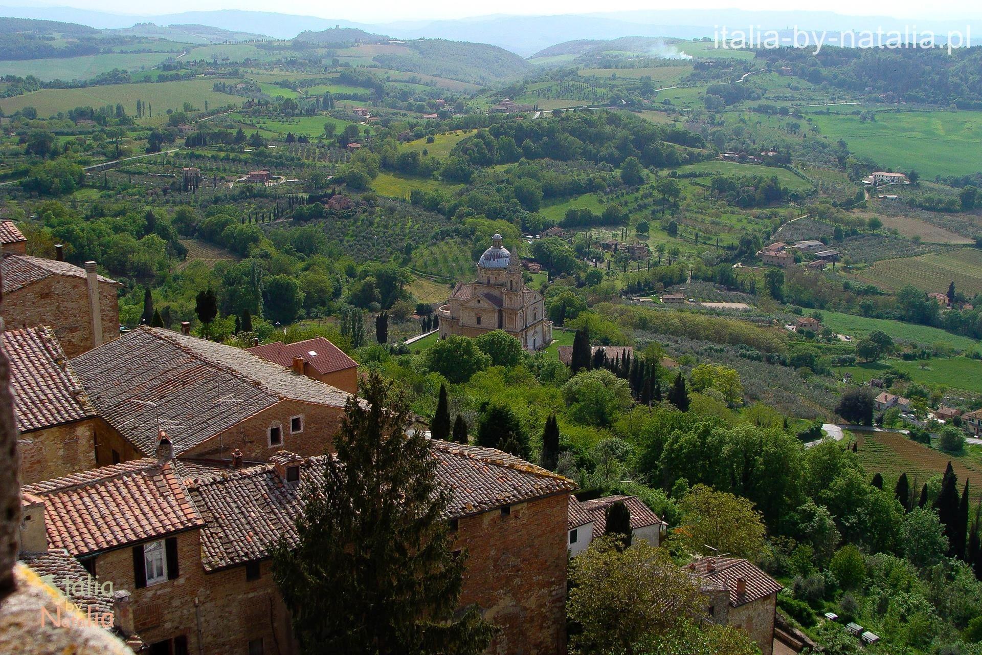 Montepulciano widok Torre del Pulcinella bivio di san biagio