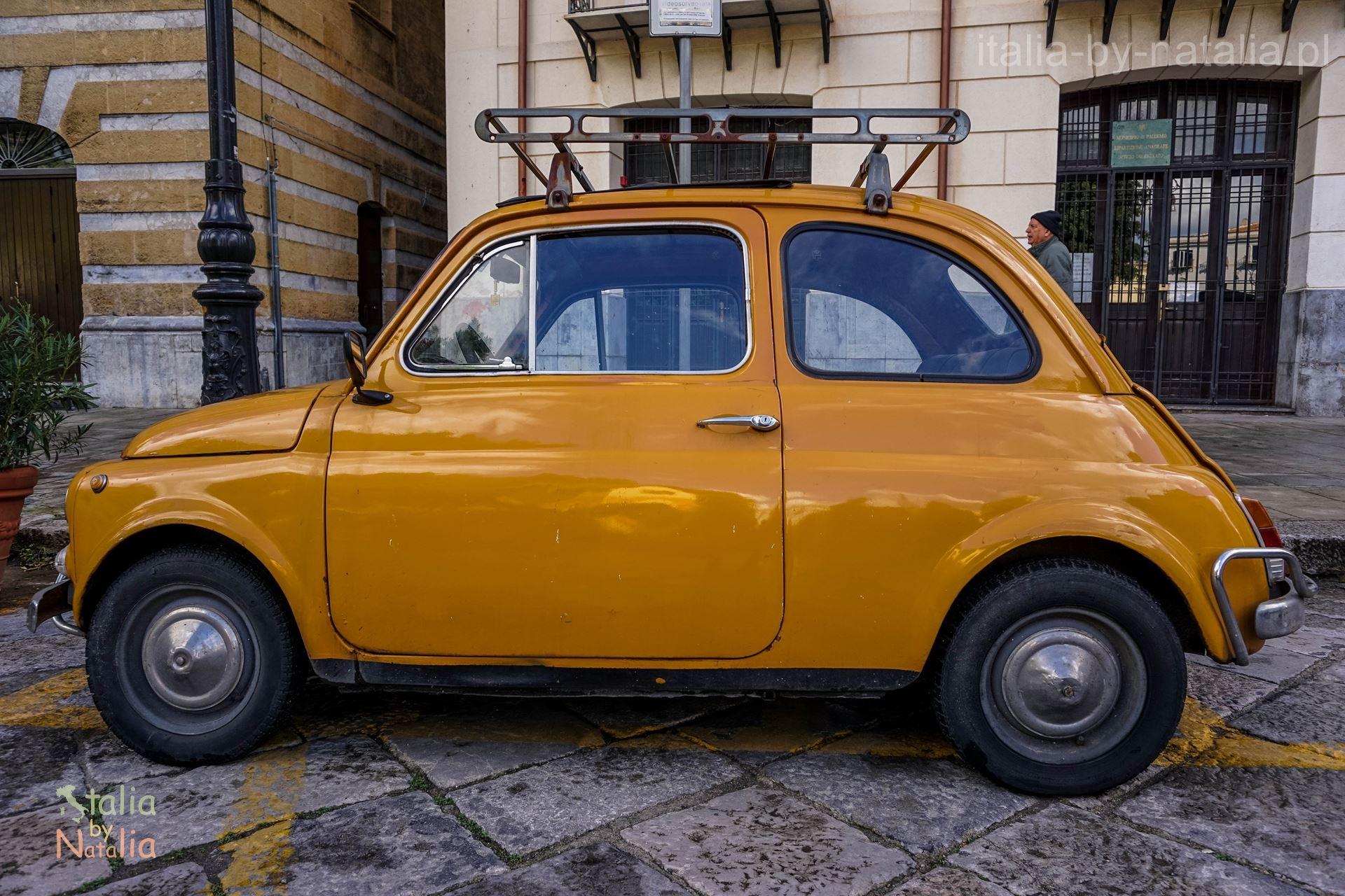 Palermo Sycylia stary Fiat 500 zlot grudzien