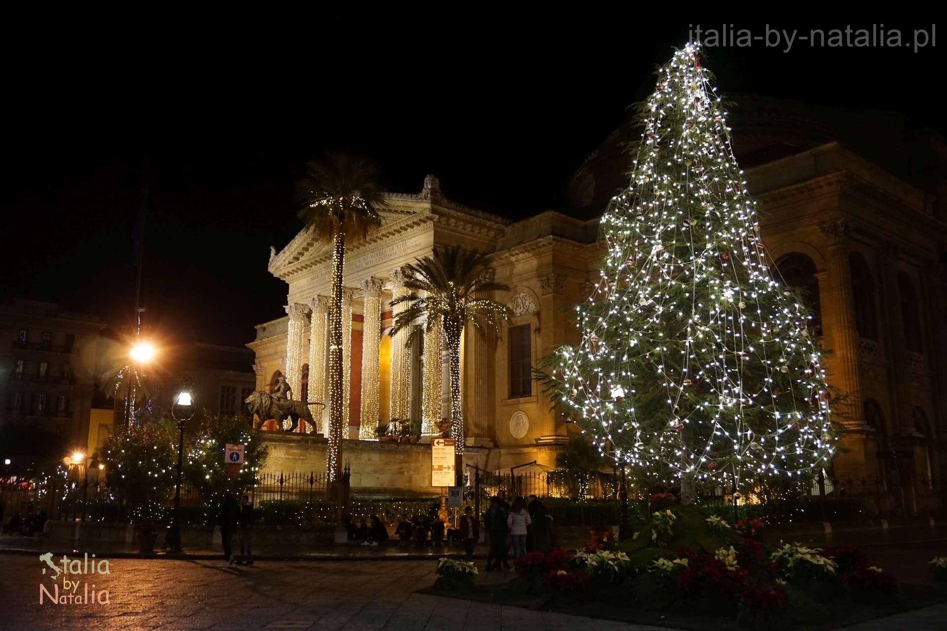 Palermo Sycylia grudzien december christmas święta Teatro Massimo