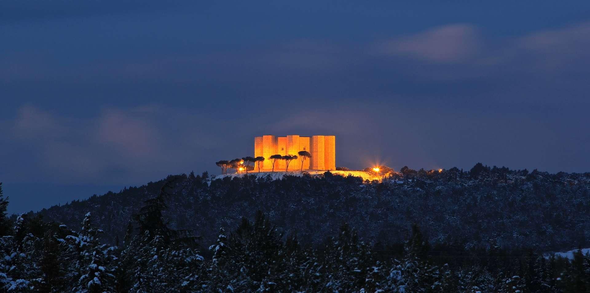 Castel del Monte Apulia zima śnieg