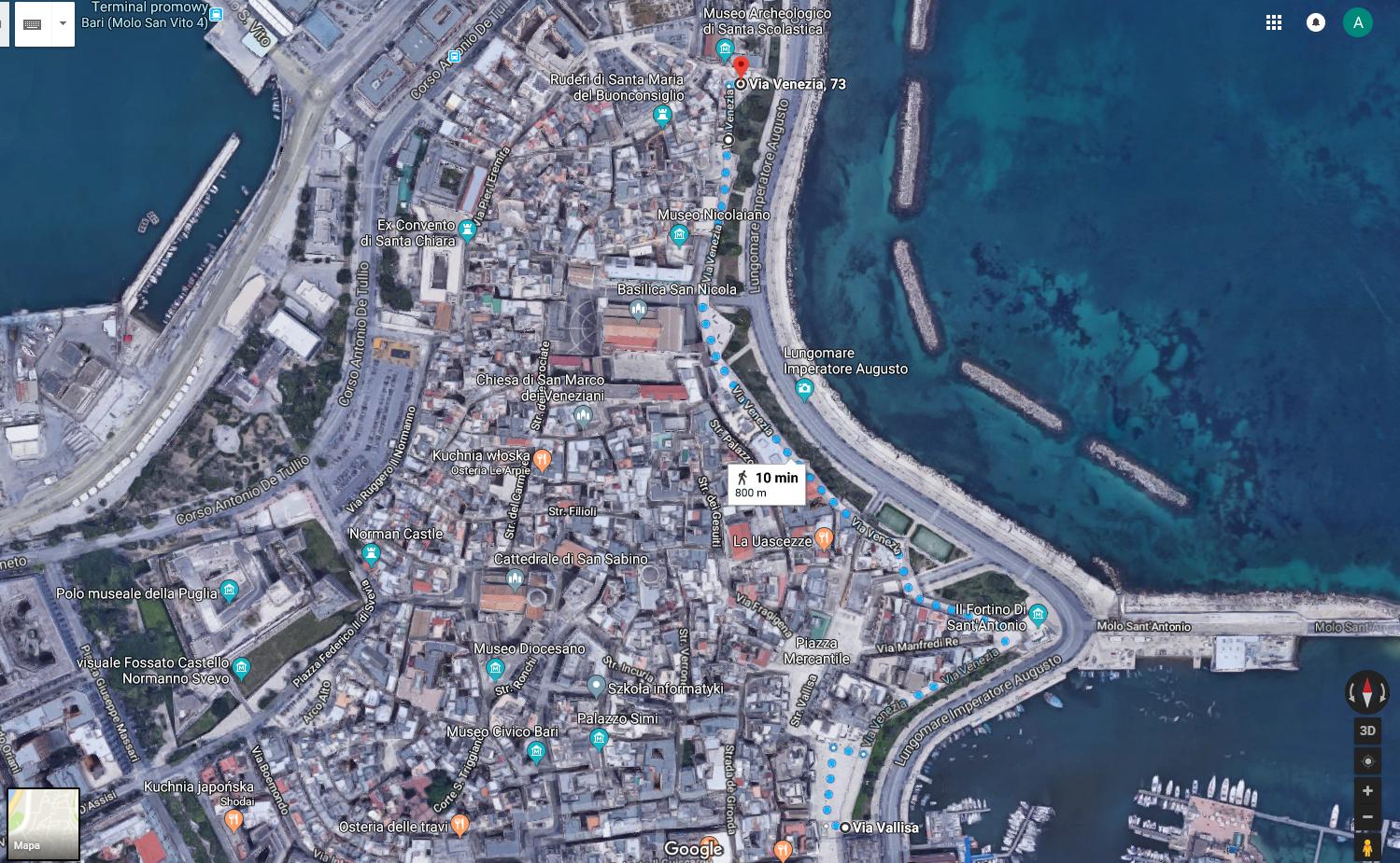 Bari mapa szlak spacerowy via Venezia