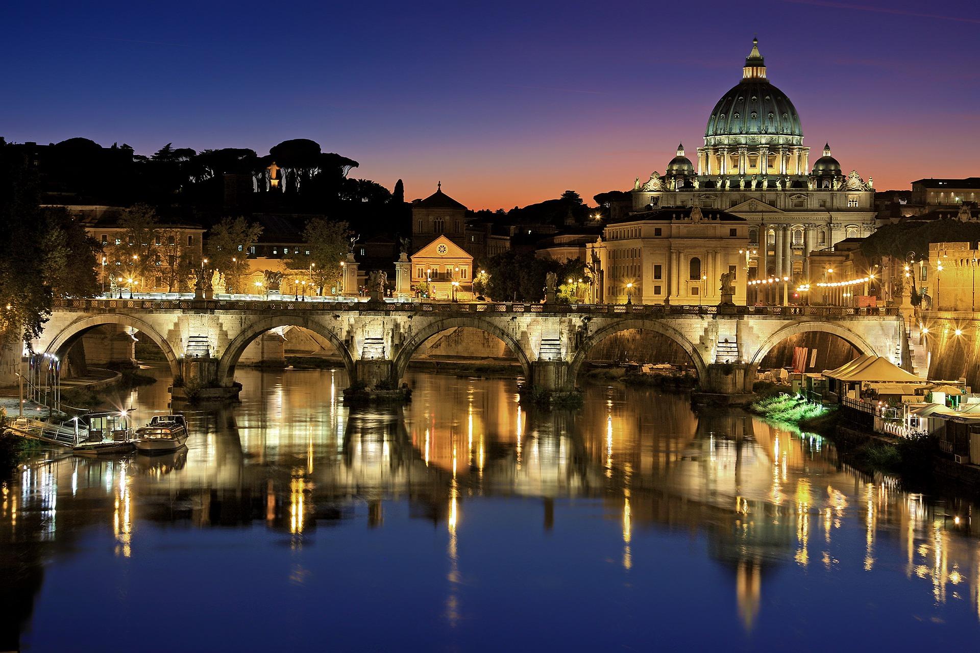 Rzym panorama widok Watykan most św. Anioła