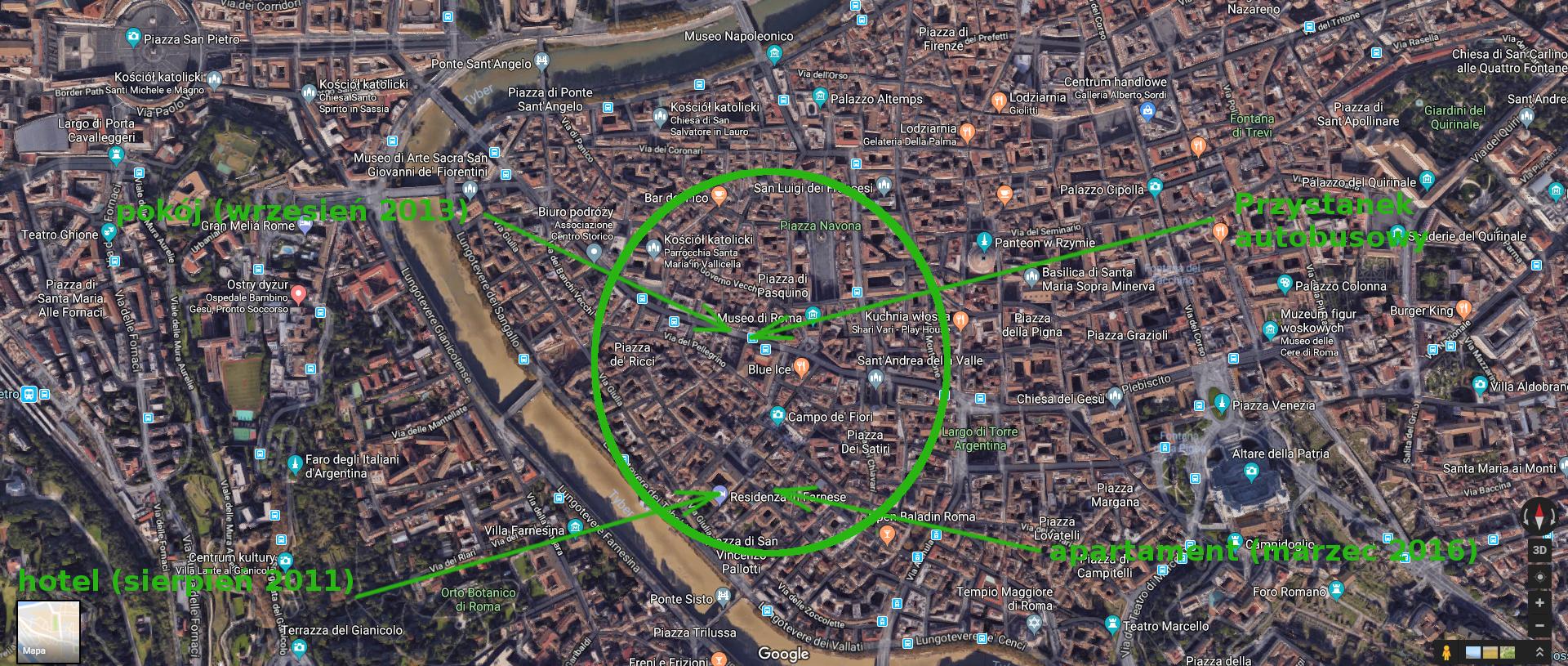 Rzym mapa noclegi centrum
