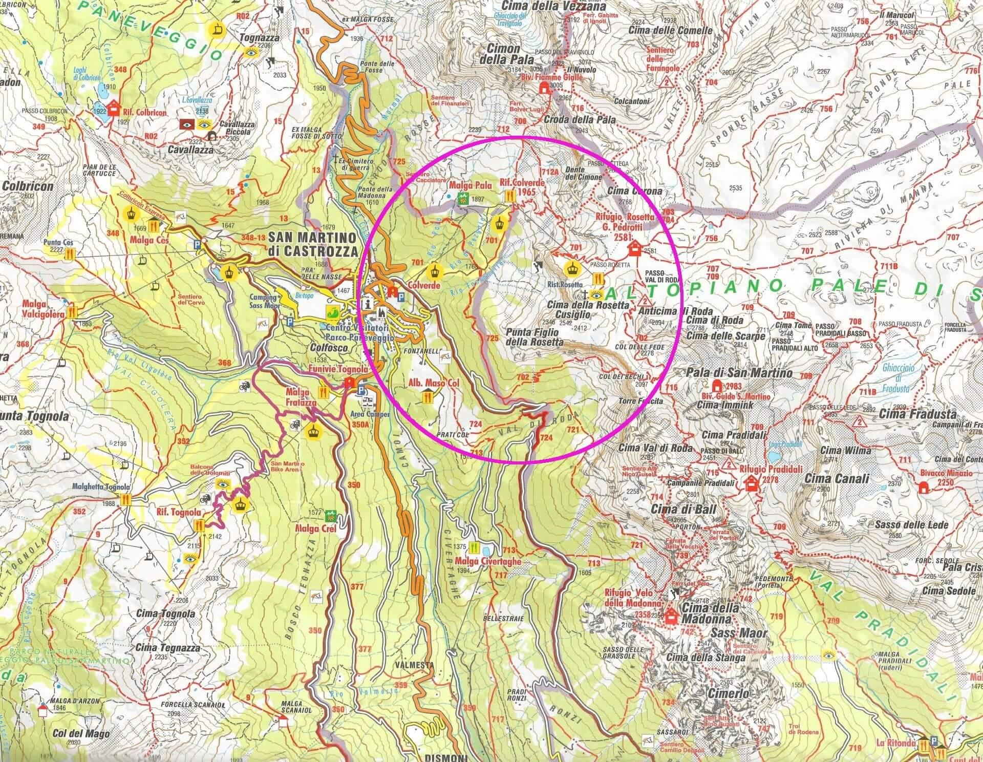 Cima Rosetta mapa trekking Pale di San Martino Dolomity Dolomites San Martino di Castrozza