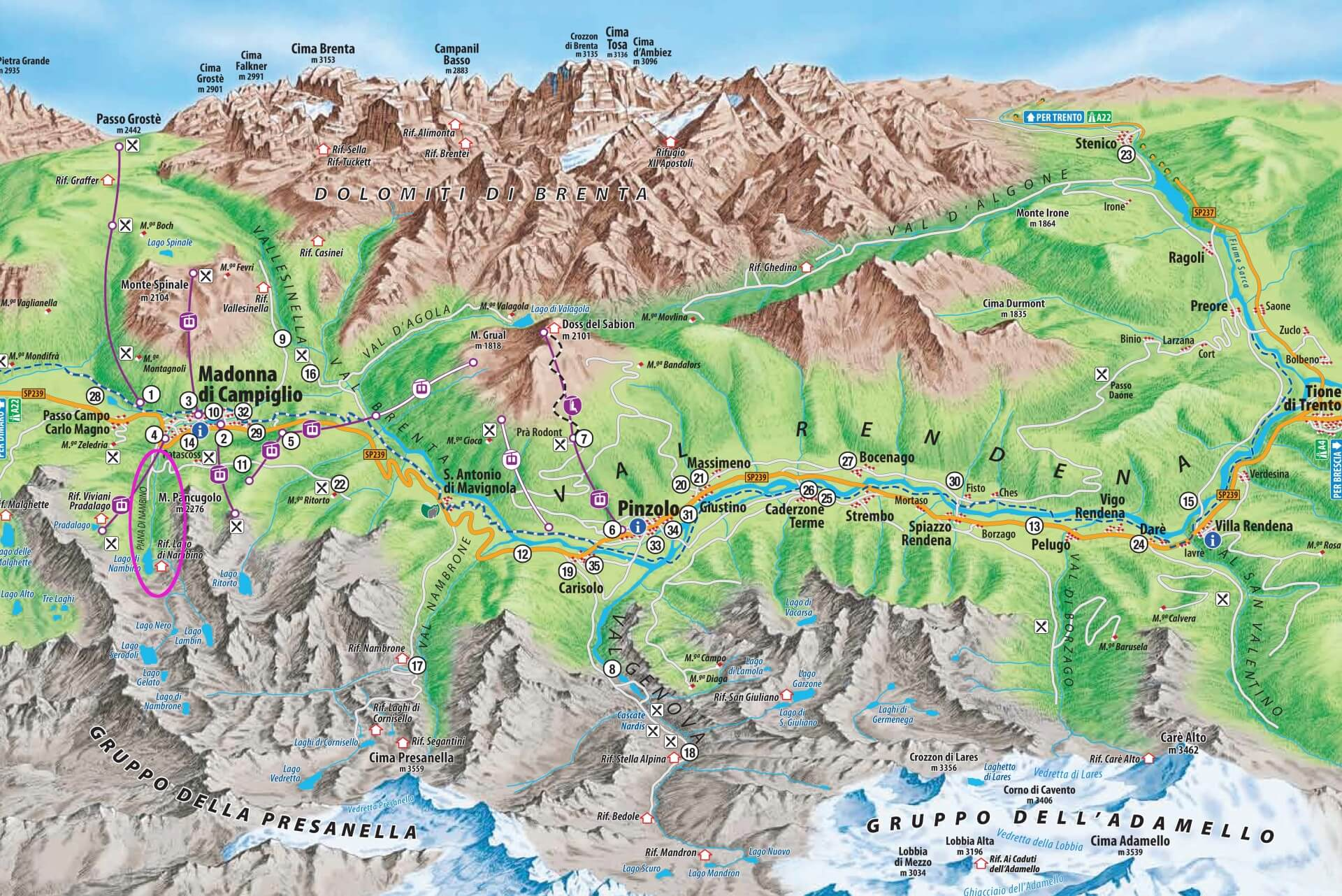 Jezioro Nambino mapa łatwy szlak Park Adamello Brenta Madonna di Campiglio włoskie Alpy Retyckie